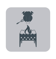 Barbecue grilll with chicken icon vector