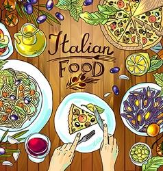 Beautiful hand-draw - italian food on the wood vector