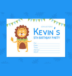 birthday party blue invitation card flyer vector image