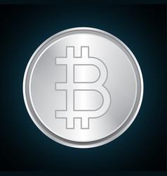 bitcoin silver metal design vector image