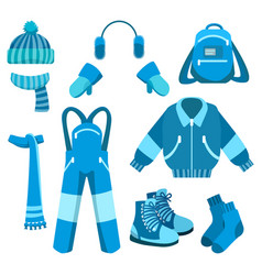 blue winter clothes collection vector image