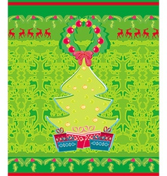 card with Xmas tree and reindeers vector image
