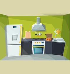 Cartoon of kitchen interior with vector