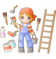 chibi professions sets painter vector image