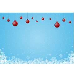 christmas snowflake red ball background vector image