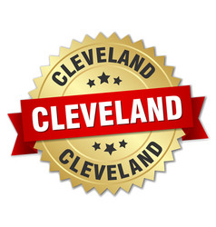 Cleveland round golden badge with red ribbon vector