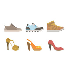 collection male and female shoes side view vector image