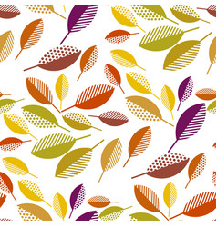 colorful fall leaves seamless pattern vector image