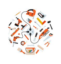 Construction repair tools in circle composition vector
