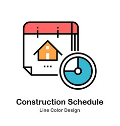 Construction schedule line color icon vector