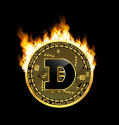 Crypto currency dogecoin golden symbol on fire vector