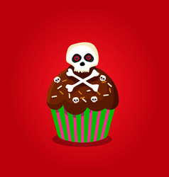 cute happy halloween cupcake with skull and cross vector image