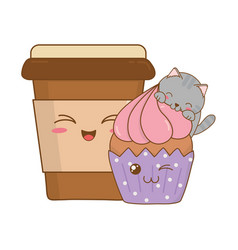 Cute little cat with coffee drink kawaii character vector