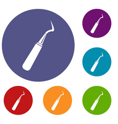 Dental probe icons set vector