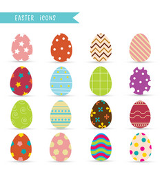 easter eggs icons cartoon icons collection vector image