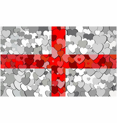 english flag made of hearts background vector image