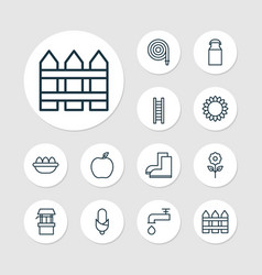 Farm icons set collection of bloom stairway vector