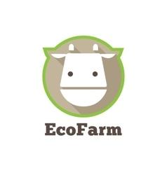 Flat modern minimalistic cow logo Farm vector