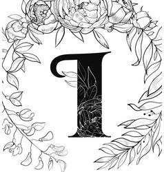 flower alphabet letter i pattern vector image