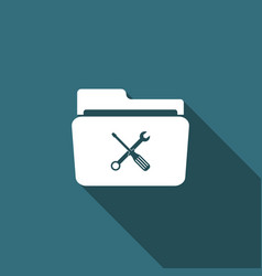 folder and tools or settings icon isolated vector image