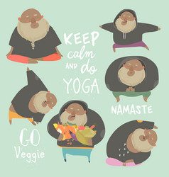 funny chubby man doing yoga healthy lifestyle vector image
