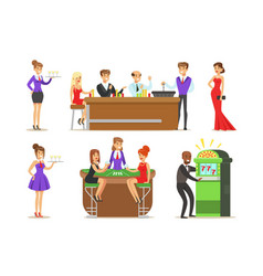 gamblers in chic casino in vegas playing poker vector image