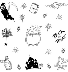 Halloween doodle collection vector image