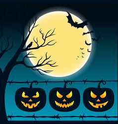 halloween night background with full moon scary vector image
