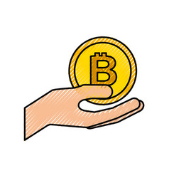 hand holding bitcoin money business technology vector image