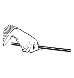 Hand with wand vintage engraving vector