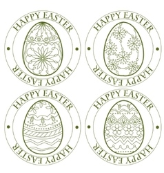 Happy Easter retro stamp with eggs vector image