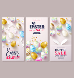 happy easter sale set of cardsbeautiful vector image
