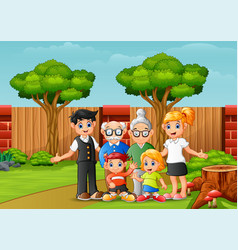 happy family members in city park vector image