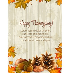 Happy thanksgiving day with acorns vector