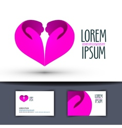 heart logo design template hands or love icon vector image