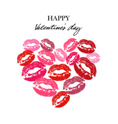 heart with lipsticks prints heart full of kisses vector image