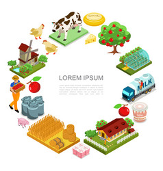 Isometric farming round concept vector