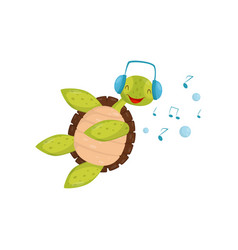 joyful turtle swimming and listening music funny vector image