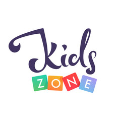 Kids zone playful lettering logo composition vector