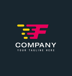 Letter f with fast logo speed moving and quick vector