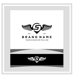 Letter s pin map wing logo design concept vector