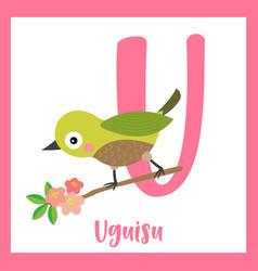 Letter u vocabulary uguisu bird perching on branch vector