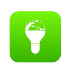 light bulb and planet earth icon digital green vector image