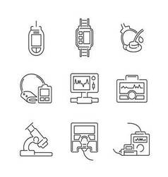 Line Icons Medical Device Icon Set vector