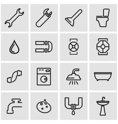 line plumbing icon set vector image