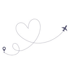 love airplane route romantic travel heart dashed vector image