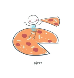 Man eats pizza vector