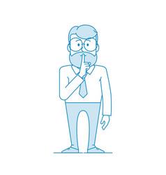 Man shows gesture quietly vector