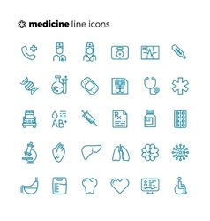 Medicine and healthcare thin line icons vector image