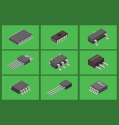 Microchip computer isometric chip vector